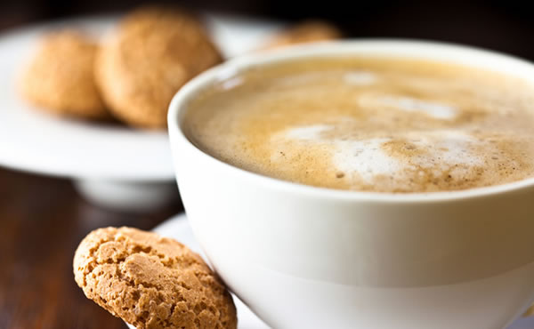 White Coffee Cup and Biscuit