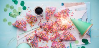 Cup of coffee, fireworks and sprinkles.