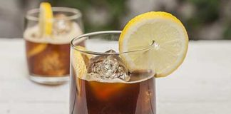 Lemonade coffee with coffee beans