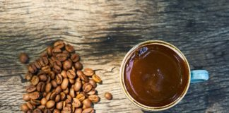 Turkish coffee with coffee beans