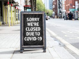 "Signboard saying ""saying we are closed due to Covid-19"""
