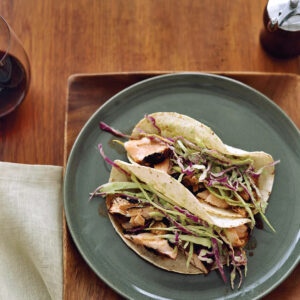 Dry-Rubbed Salmon Tacos with Tomatillo-Avocado Slaw