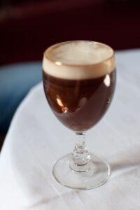Irish coffee in a glass