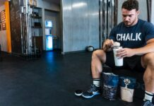 a person making protein shake